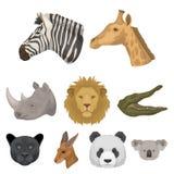 Комплект значков диких животных Захватнические и мирные дикие животные Реалистический животный значок в собрании комплекта на шар Стоковая Фотография RF