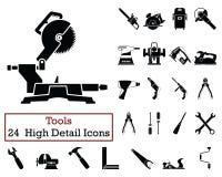Комплект 24 значков инструментов бесплатная иллюстрация