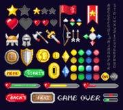 Комплект значков искусства игры пиксела Стоковая Фотография RF
