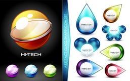 Комплект значков и логотипов сферы techno высок-техника футуристических с сообщением иллюстрация вектора