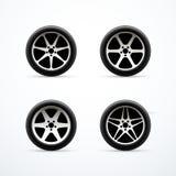 Комплект значков колеса автомобиля также вектор иллюстрации притяжки corel иллюстрация вектора