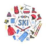 Комплект значков лыжи в круге Иллюстрация штока