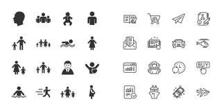 Комплект значков людей и семьи вода зонтиков заплывания бассеина вектор иллюстрация вектора
