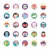 Комплект значков недвижимости плоских Стоковые Изображения