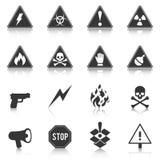 Комплект значков опасности, опасность, внимание также вектор иллюстрации притяжки corel иллюстрация вектора