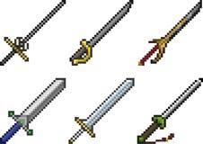 Комплект значков оружия в стиле пиксела стоковое фото rf