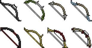 Комплект значков оружия в стиле пиксела стоковые фотографии rf