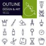 Комплект значков плана искусства и графического дизайна Стоковое Изображение