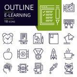 Комплект значков плана обучения по Интернетуу Стоковая Фотография