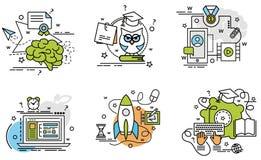 Комплект значков плана обучения по Интернетуу Стоковые Фото