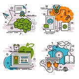 Комплект значков плана обучения по Интернетуу Стоковая Фотография RF