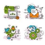 Комплект значков плана социальной сети Стоковое Изображение