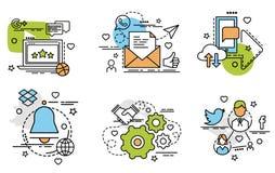 Комплект значков плана социальной сети Стоковое Фото