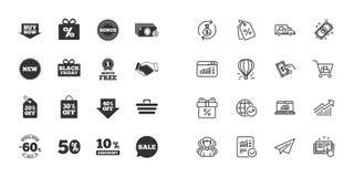 Комплект значков покупок, продажи и скидок вектор иллюстрация вектора