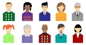 Комплект значков различных людей иллюстрация штока
