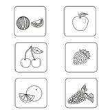 Комплект значков различных шаблонов плодоовощ стоковое фото