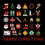 Комплект значков рождества искусства пиксела вектора Стоковое фото RF