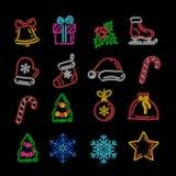Комплект значков рождества и Нового Года иллюстрация вектора
