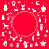 Комплект значков рождества, украшений рождественской елки, картин для поздравительных открыток, плоской иллюстрации вектора иллюстрация штока