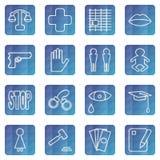 Комплект значков сети концепции социальных проблем иллюстрация штока