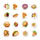 Комплект значков фаст-фуда Иллюстрация вектора высококалорийной вредной пищи - пицца, донут, бургер, тако, цыпленок и другие объе иллюстрация штока