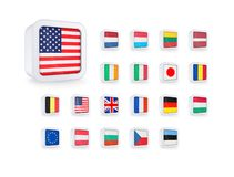 Комплект значков флагов бесплатная иллюстрация