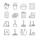 Комплект значков чистки плана вектора для веб-дизайна Стоковые Фотографии RF