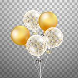 Комплект золота, белого прозрачного воздушного шара гелия в воздухе Замороженные воздушные шары партии для дизайна события Украше Стоковые Изображения