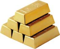 Комплект золота в слитках изолированного на белой предпосылке Стоковые Изображения
