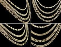комплект золота цепей Стоковые Изображения RF