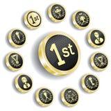комплект золотистого медали иконы олимпийский Стоковые Изображения