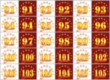 Комплект золотых чисел от 91 до 105 и слова года украшенных с кругом звезд также вектор иллюстрации притяжки corel Стоковое Изображение