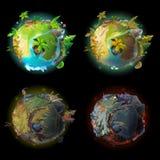 Комплект игрового дизайна развития планеты шаржа вектора иллюстрация штока