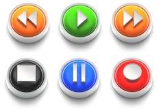 комплект игрока иконы кнопки Стоковое Изображение RF