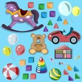 Комплект игрушек детей иллюстрация штока