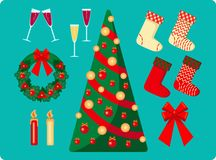 Комплект изображений рождества на голубой предпосылке бесплатная иллюстрация