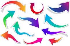 Комплект изогнутых красочных стрелок Стоковое Фото