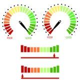Комплект изолированного метра Raiting кредита Красочные масштабы датчиков с черной стрелкой иллюстрация штока