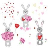 Комплект изолированных кроликов влюбленн в цветки, воздушный шар и шоколады Стоковое фото RF