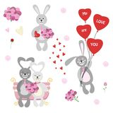 Комплект изолированных кроликов, неразлучников, цветков, воздушного шара и шоколада Стоковая Фотография