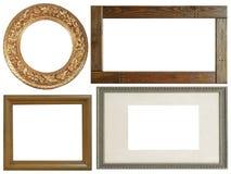 Комплект изолированных рамок искусства пустых в золотом стоковые фотографии rf