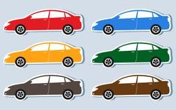 Комплект изолированных роскошных силуэтов автомобилей Стоковое фото RF