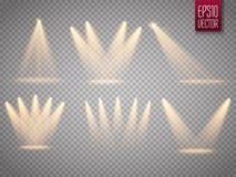 Комплект изолированных фар Солнце излучает при лучи изолированные на прозрачной предпосылке Вспышка Солнця также вектор иллюстрац Стоковые Фотографии RF