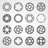 Комплект 16 изолированных шестерней и cogs Стоковое Фото