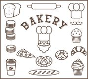 Комплект изолированных элементов хлебопекарни плоских - персона хлебопека, шляпа ` s шеф-повара, усик, хлеб, багет, хлебец, враща Стоковое Изображение