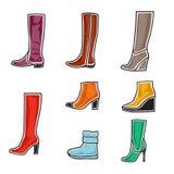 Комплект иконы ботинок Стоковая Фотография RF