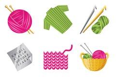 комплект иконы вязания крючком Стоковые Изображения