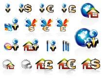 комплект иконы дома финансов дела Стоковая Фотография