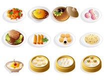 комплект иконы еды шаржа китайский Стоковое Изображение RF