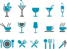 комплект иконы еды Стоковое фото RF
